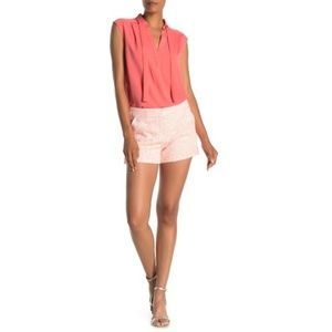 Trina Turk Corbin Woven Shorts, Hot Coral/Metallic